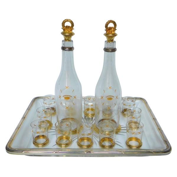 Service à liqueur à couronne de comte en cristal de Baccarat et vermeil, poinçon Minerve - fin XIXe siècle