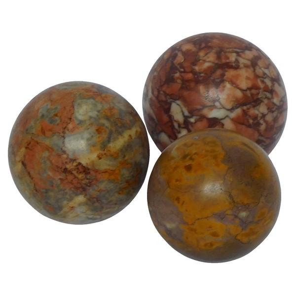 Souvenir du Grand Tour : 3 boules en marbre décoratives d'époque XIXe