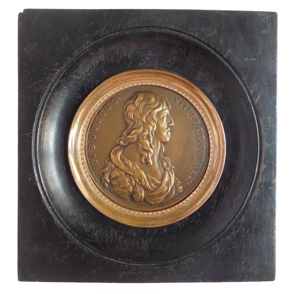 Portrait miniature du Roi Louis XIII, médaille en bronze, souvenir historique royaliste