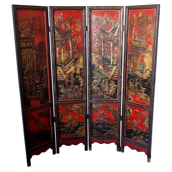 Ecran ou paravent 4 feuilles en laque rouge et or - Chine, époque XIXe siècle