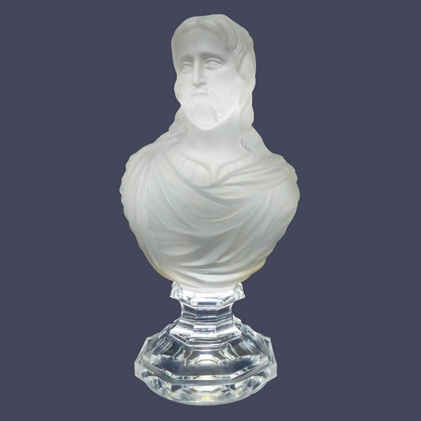 Buste du Christ en cristal de Baccarat - époque XIXe siècle