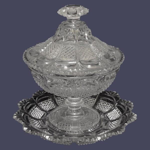 Drageoir en cristal de Baccarat / Le Creusot taillé et moulé, époque XIXe siècle