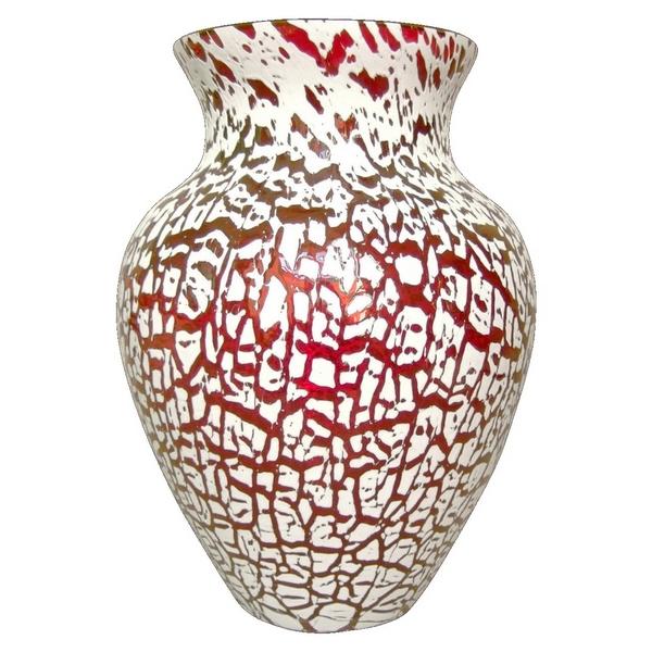 Rare, grand vase / pied de lampe / potiche en cristal de Saint Louis overlay rouge signé