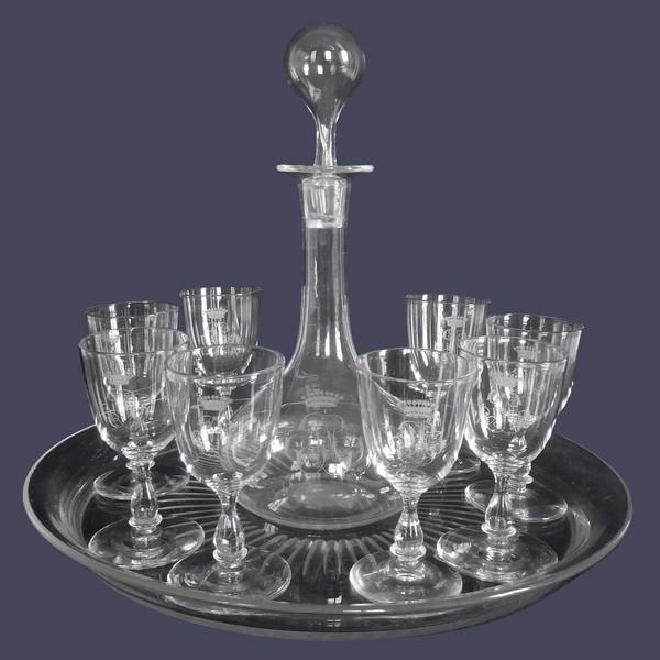 Service à liqueur ou madère en cristal de Baccarat à couronne de Comte - époque XIXe siècle