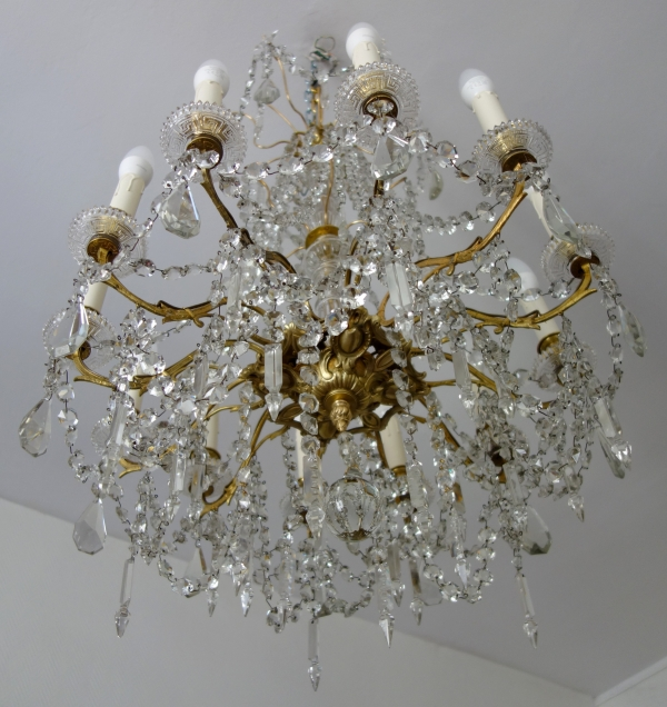 Louis XVI style Baccarat crystal and ormolu chandelier, 12 lights