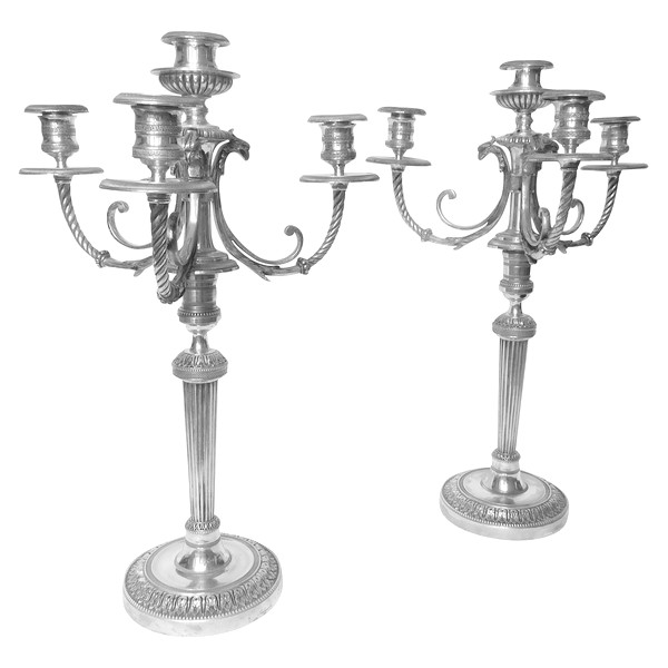 Pair of silver plated bronze candelabras, Fontainebleau candlesticks pattern - 19th century