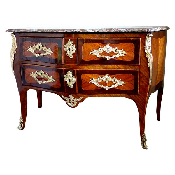 JB Galet - Louis XV marquetry commode, mid 18th century, stamped
