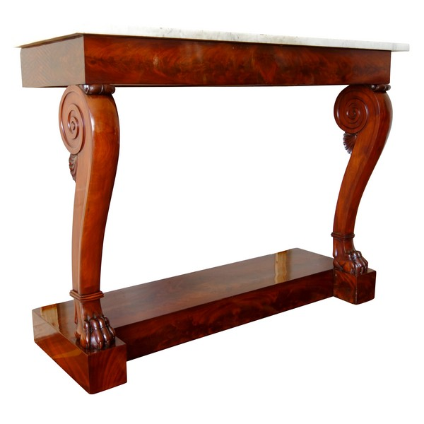 Console d'applique Empire à pieds griffes en acajou attribuée à Louis Alexandre Bellangé