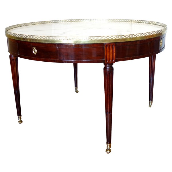 Louis XVI library table or large bouillotte table - mahogany & marble