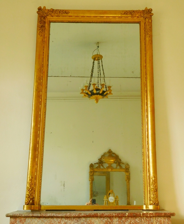 Tall fireplace mirror, gilt wood frame, mercury glass circa 1840, 110cm x 180cm
