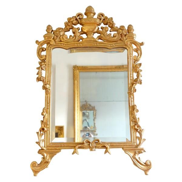 Miroir en bois doré, travail provencal d'époque Louis XV - Transition - 96cm x 60cm
