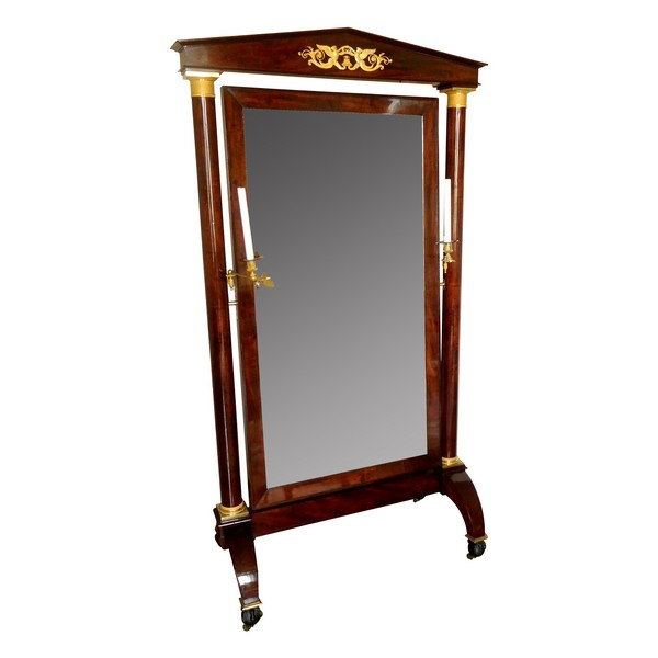Large mahogany and ormolu psyche mirror, French Empire, early 19th century circa 1810