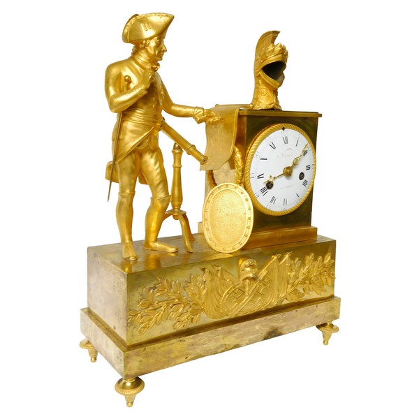 Empire ormolu clock featuring Frederic II King of Prussia, early 19th century