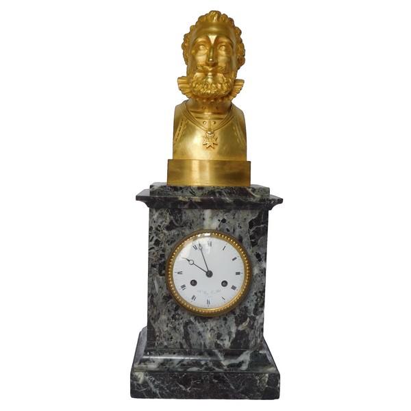 Le Roy, horloger du Roi : pendule royaliste, buste d'Henri IV en bronze doré au mercure époque XIXe