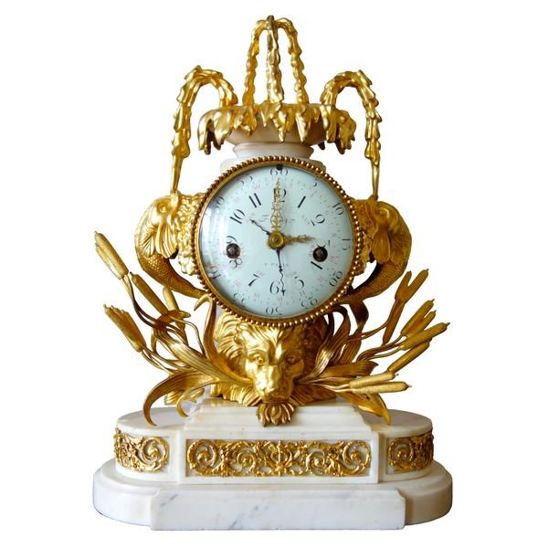 Pendule à la fontaine d'époque Transition Louis XV - Louis XVI - mouvement à complications à calendrier
