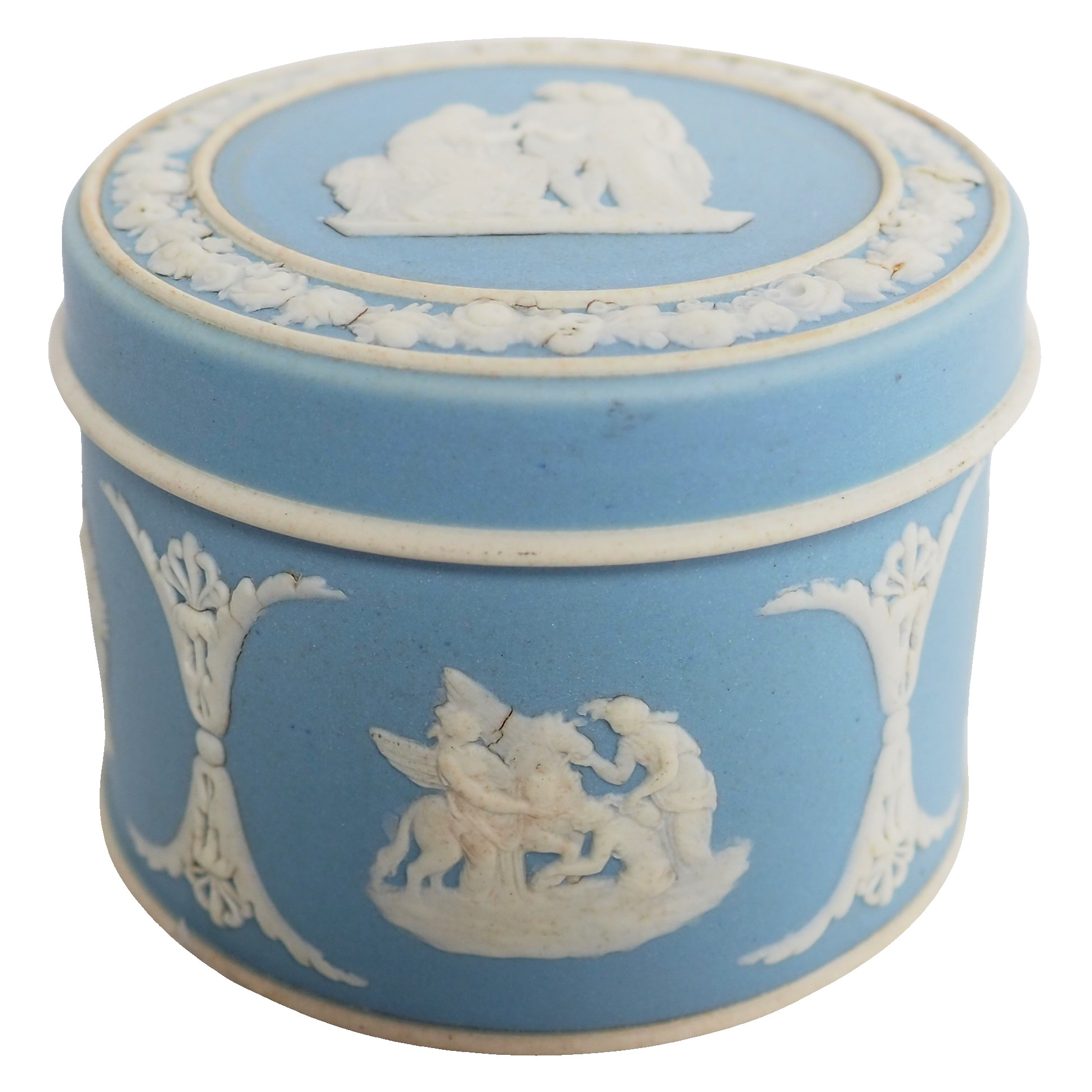 Wedgwood : boîte en biscuit polychrome bleu clair
