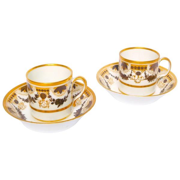 Paire de tasses à café litron en porcelaine d'époque Louis XVI Directoire fin XVIIIe siècle