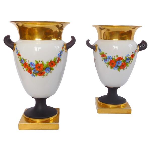 Manufacture Honoré : paire de vases Empire à la grecque en porcelaine polychrome & or