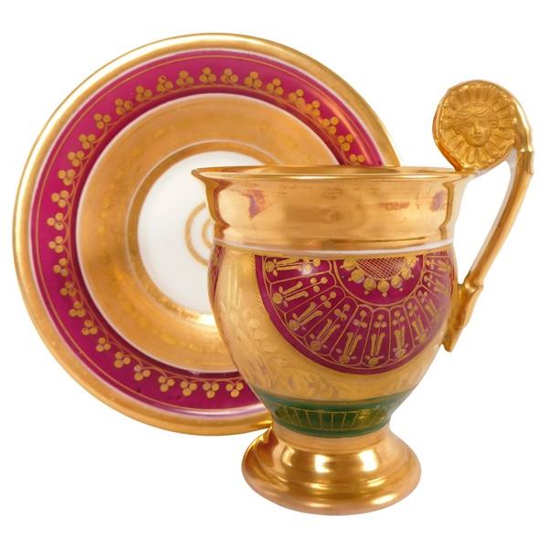 Tasse à café Empire en porcelaine de Paris dorée à l'or fin, époque début XIXe siècle