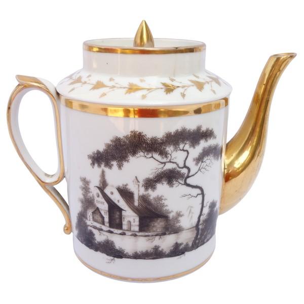 Théière d'époque Empire en porcelaine de Chantilly or et paysages en grisaille