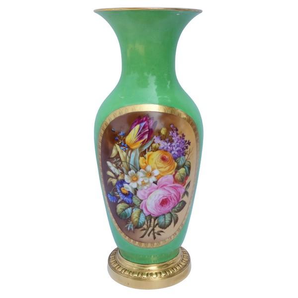Grand vase en porcelaine de Paris monté bronze, XIXe siècle époque Napoleon III