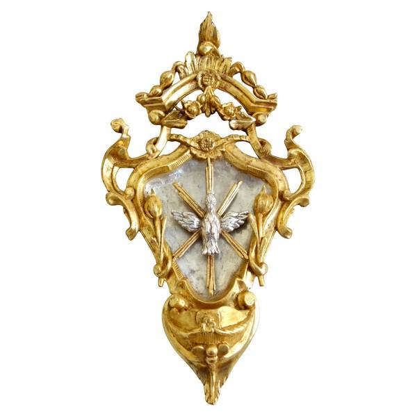 Bénitier en bois sculpté, doré à la feuille d'or et argenté, époque Louis XV - XVIIIe siècle
