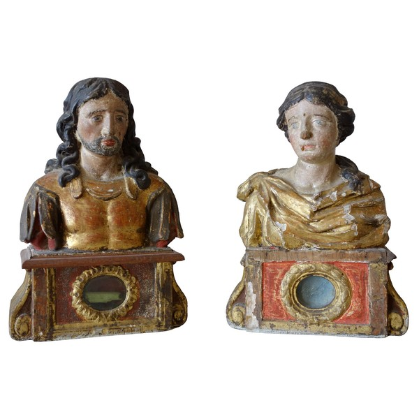 Paire de bustes reliquaires en bois polychrome et doré - époque XVIIe siècle