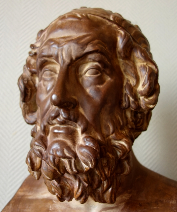 Tall Greek poet Homer after the antique of the Louvre - patinated plaster - 53cm
