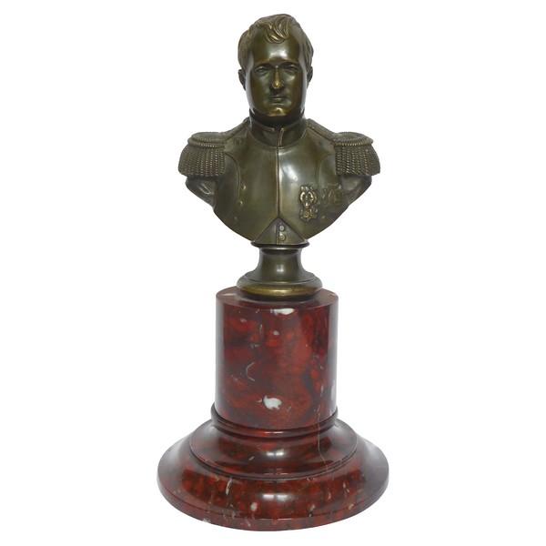 Buste de Napoleon 1er en bronze patiné et marbre, modèle de Thomire d'époque XIXe siècle