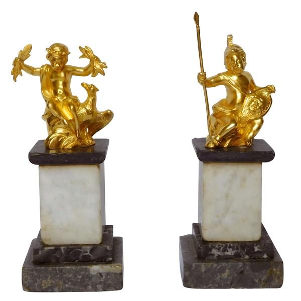 Paire de statuettes en bronze doré et marbre : Jupiter et Mars enfants, époque Louis XVI