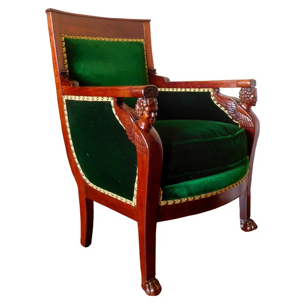 Empire mahogany bergere, attributed to Jacob Frères, early 19th century circa 1800
