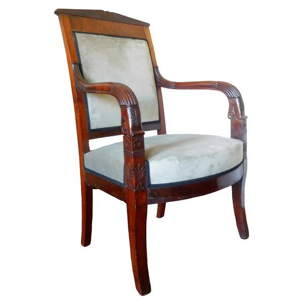 Empire desk armchair, finely sculpted mahogany, grey velvet, early 19th century