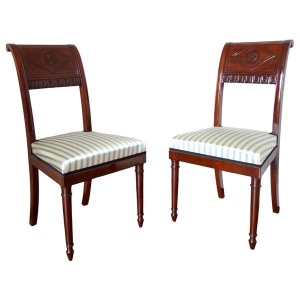 Paire de chaises à l'étrusque en acajou attribuée à Jacob - époque Directoire