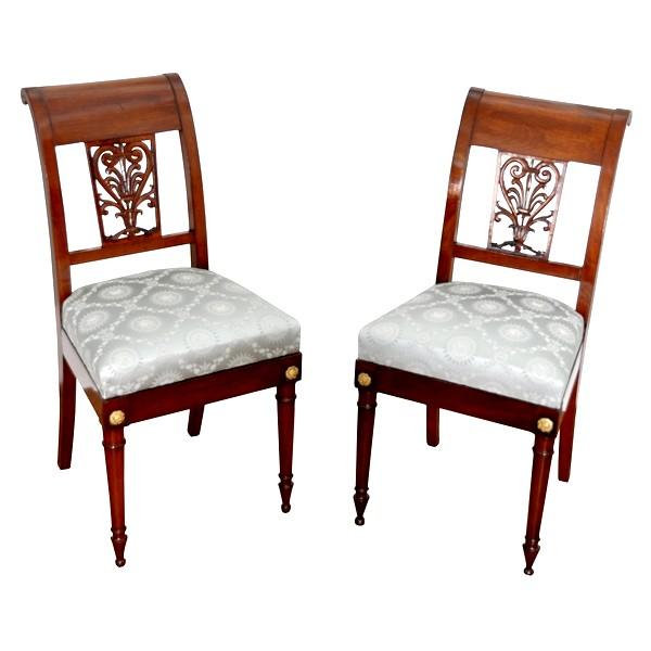 Paire de chaises à l'Etrusque à châssis d'époque Directoire en acajou par Georges Jacob