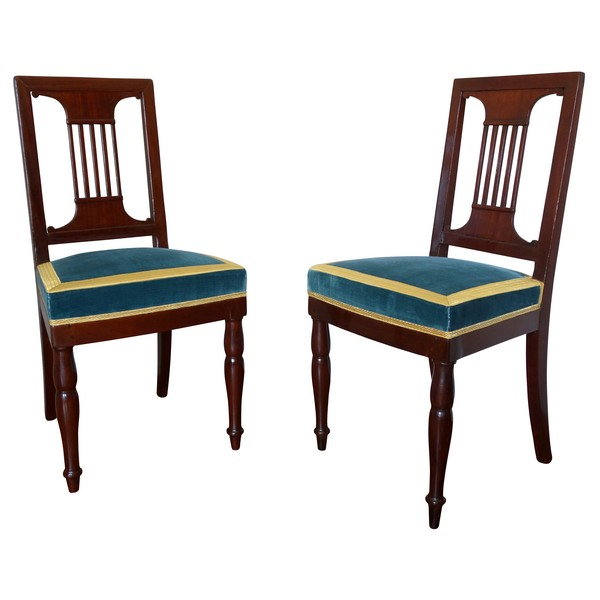 Paire de chaises par Jacob pour Louis Philippe au Chateau de Bizy - estampilles et marques au feu