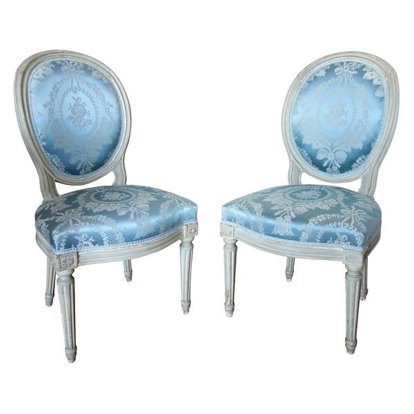 Pair of Louis XVI chairs stamped Jacques Fligny
