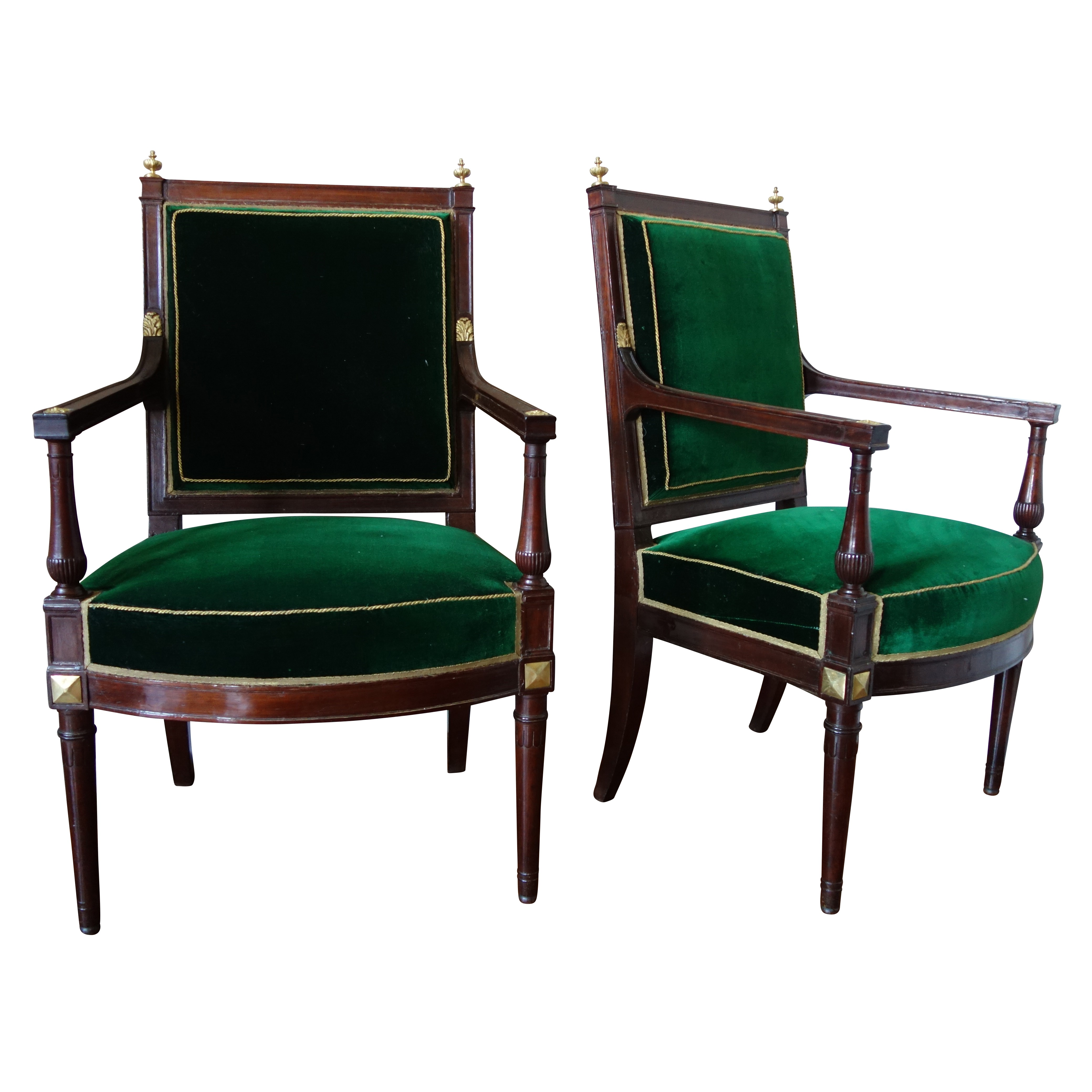 Pair of Directoire mahogany and ormolu armchairs, late 18th century circa 1790 attributed to Jacob