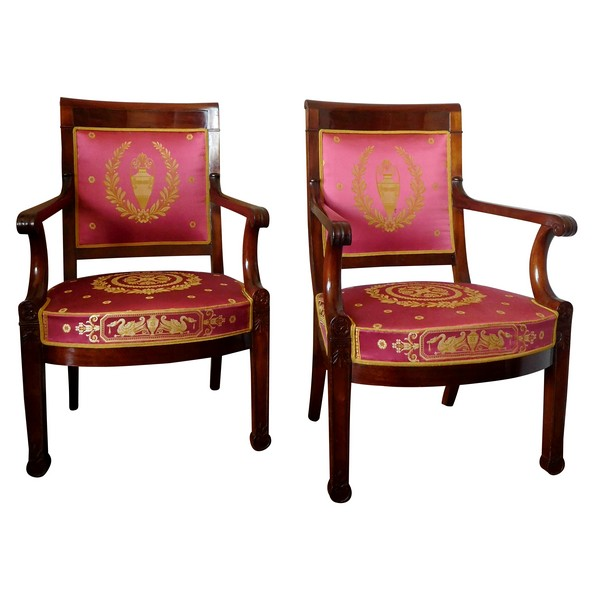 Pair of Empire mahogany armchairs, antique silk, early 19th century