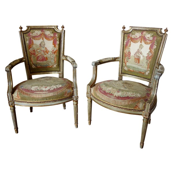 Pair of Louis XVI cabriolet armchairs - Aubusson tapestry - 18th century