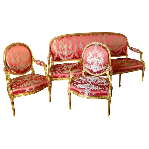 Claude Sene : Louis XVI seats set : sofa and pair of armchairs - 18th century - stamped
