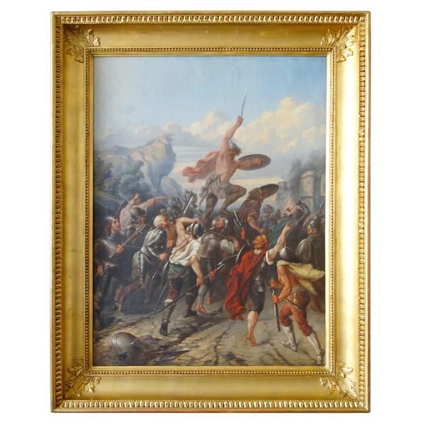 Ecole Française du XIXe siècle, grand scène allégorique : la combativité du peuple Français - 69cm x 90cm