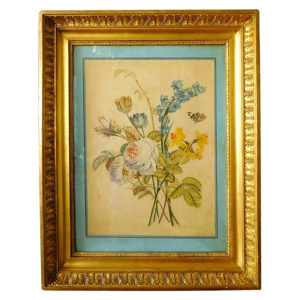 Ecole de Pierre-Joseph Redouté, bouquet de fleurs, aquarelle et gouache, époque Empire