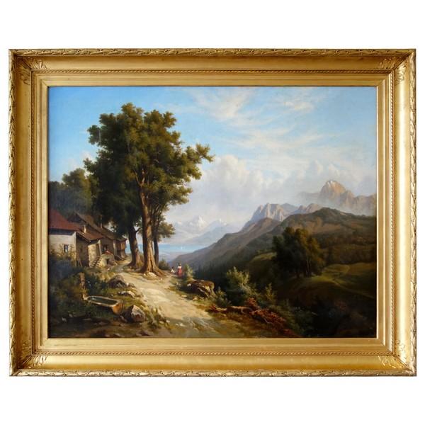 Henry Van Der Burch, grand tableau de montagne - huile sur toile XIXe - 136cm x 109cm