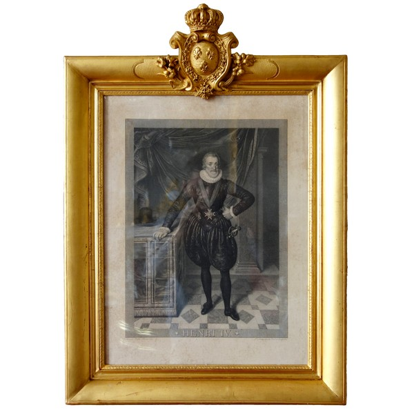 Royalist engraving : Henri IV King of France, France coat of arms on the frame, 19th century
