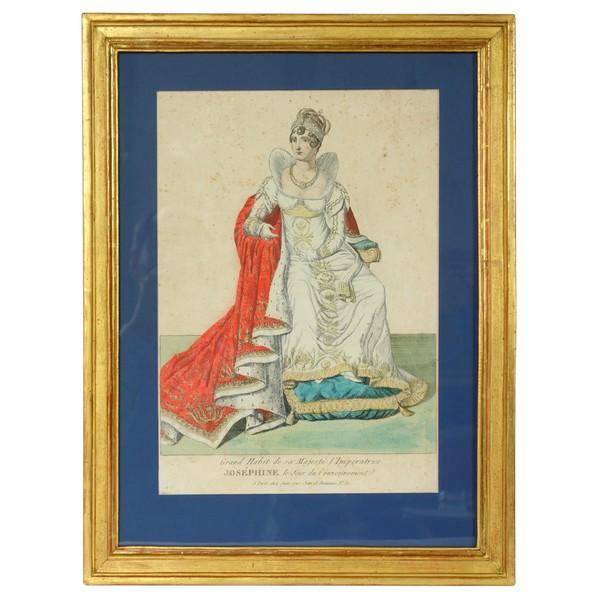 Gravure polychrome : l'Impératrice Joséphine en habit de sacre - époque Empire