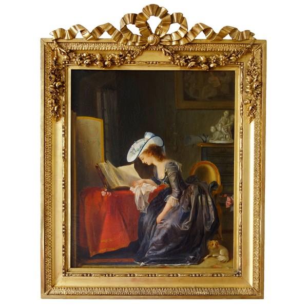 Ecole Française, jeune femme à la lecture sous le règne de Louis XVI - huile sur toile
