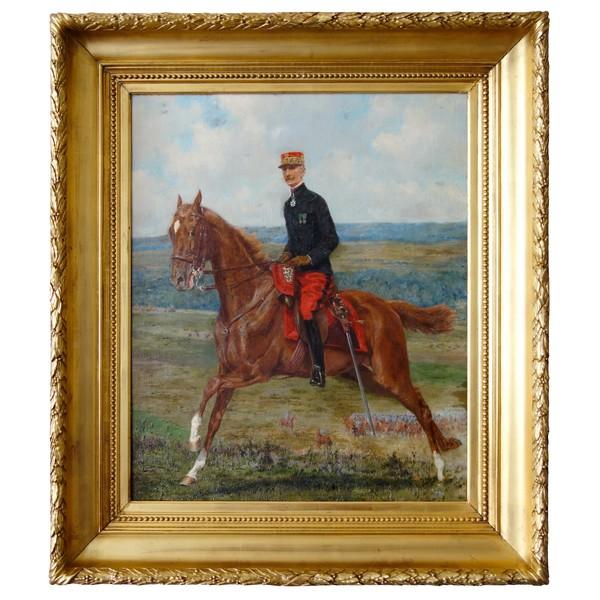 Portrait d'un Général de Cavalerie à cheval - huile sur toile