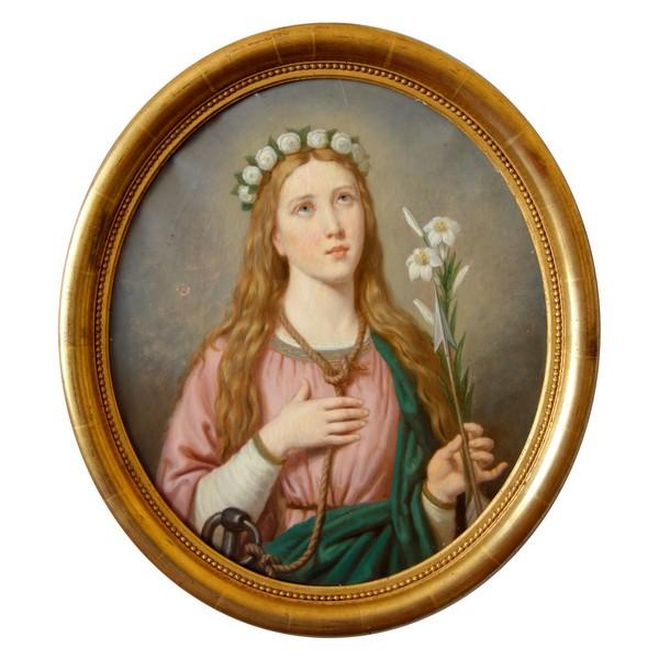Ecole Française du XIXe siècle, portrait de Sainte Philomène - huile sur toile