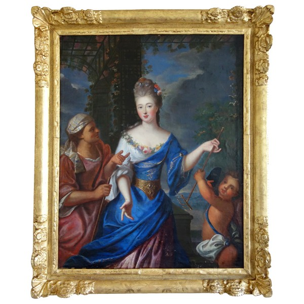 Pierre Gobert : portrait de la Princesse de Conti en Vertumne et Pomone - huile sur toile 93cm x 75cm