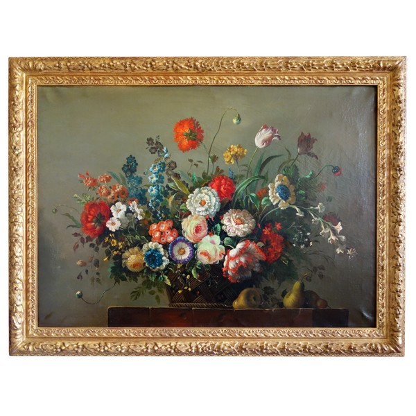 19th century French school, large flowers bouquet, Louis XIII style frame - 79cm x 69cm